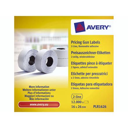 Prisetiketter Avery 2 linjer hvid 26x16mm aftagelig 10x1200s