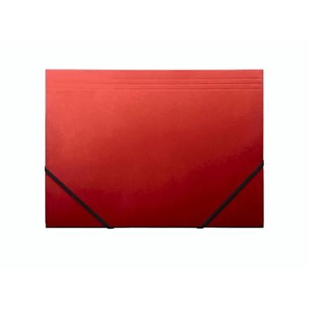 10 stk Kartonmappe Q-Line A4 rød m/3 klapper & elastik blank