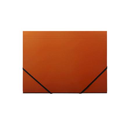 10 stk Kartonmappe Q-Line A4 orange m/3 klapper & elastik bl