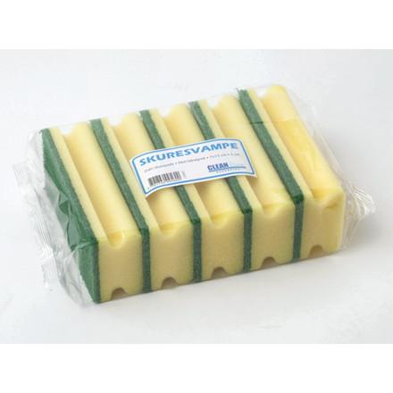 5 stk Skuresvamp m/håndtag Cleanline grøn 7x15cm