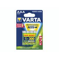 4 Stk Batteri Varta genopladelig AAA 1,2V HR3 R2U 1000mAh 4s