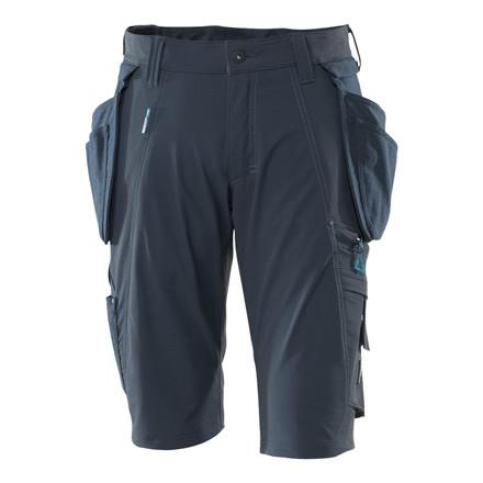 Shorts,aftageligehængelommer,stretch C42 mørkmarine