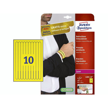 Armbånd t/print Avery gul 265x18mm t/laser 10stk/ark 10ark/æ