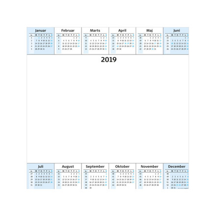 Whiteboard Årsoversigt PP rør 68x68cm 19 0655 00