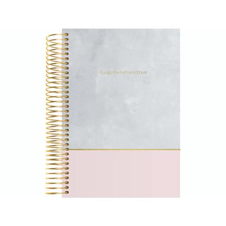 Spiralkalender tekstilpræg rosa-grå 12x17cm 1dage/side 19 20