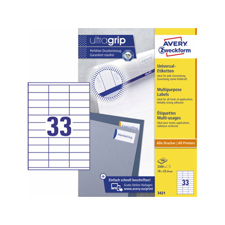 5 pakker Etiket Avery 25,4x70mm 33stk/ark 3300stk/pak 3421