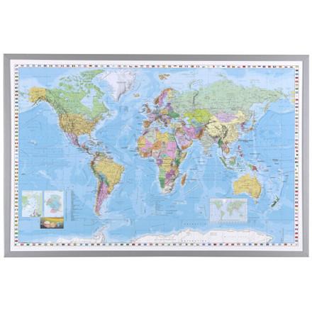 6 stk Indrammet verdenskort 60x90cm - på engelsk