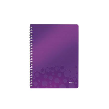 6 stk Notesbog Leitz PP WOW A4 linieret m/hul lilla 80ark