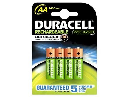 4 Stk Batteri Duracell genopladelig AA 2400mAh 4stk/pak Prec