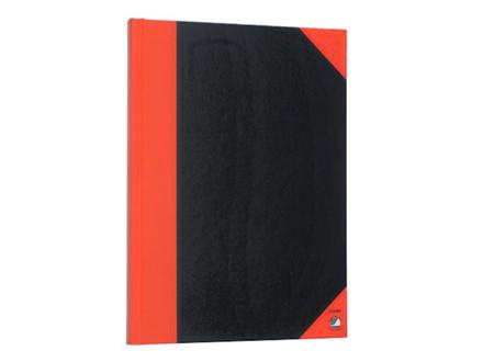 5 stk Kinabog m/linier 96bl sort m/røde hjørner A6