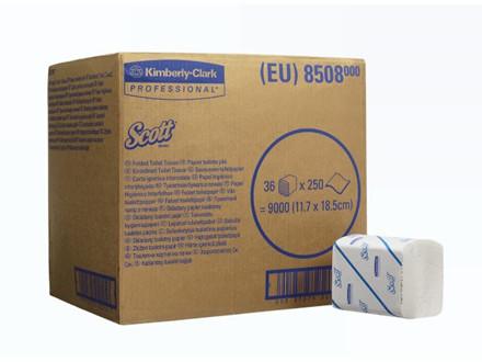 9000 Ark Toiletpapir Scott 2-lags hvid 8508 36pak/kar 36x250