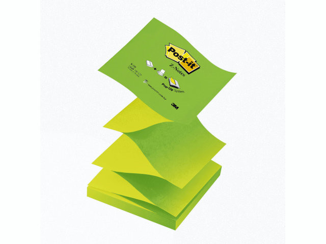12 Blokke Post-it blok R-330NAG grøn z-fold 76x76mm 12blk/pa