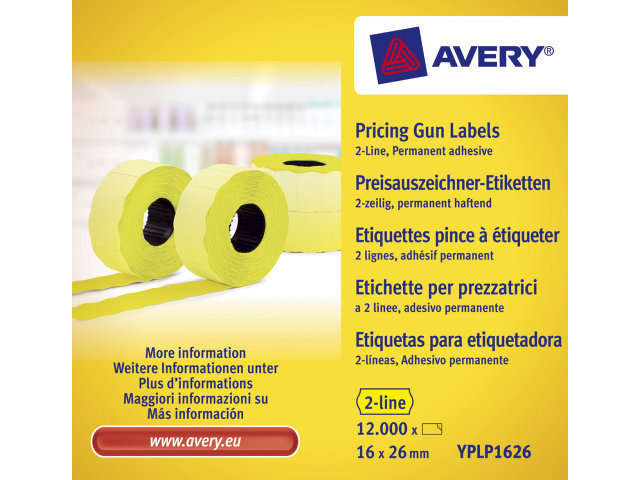 Prisetiketter Avery 2 linjer gul 26x16mm perm.klæb 10x1200st