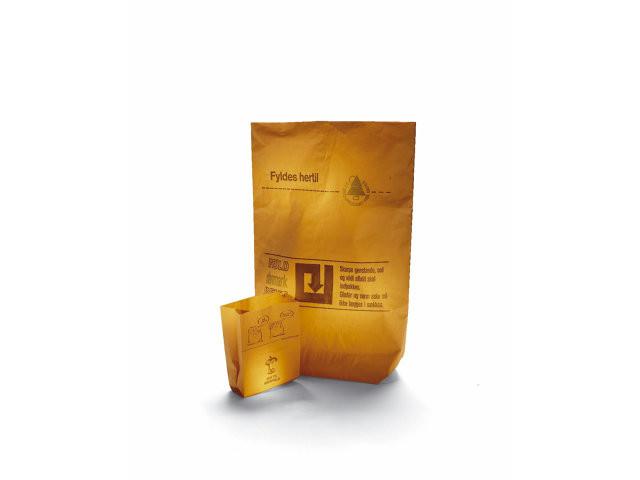 20 stk Affaldssække papir 70x95x25cm 2-lags m.plastik indv