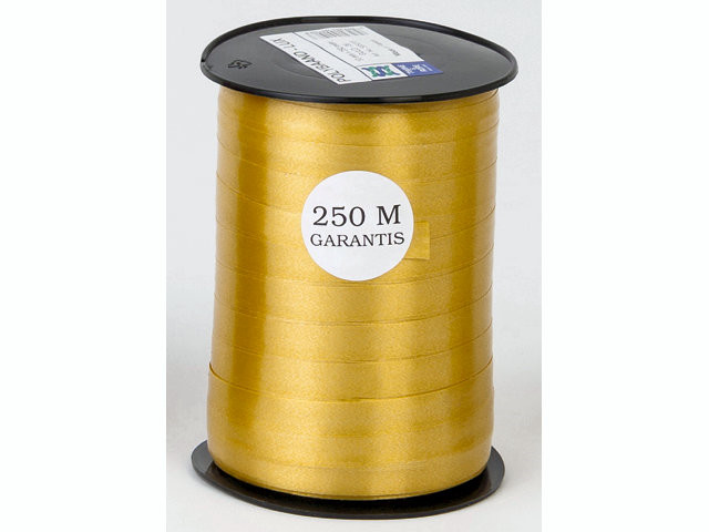 250 Meter 5 ruller Gavebånd glat guld 10mmx250m nr. 06