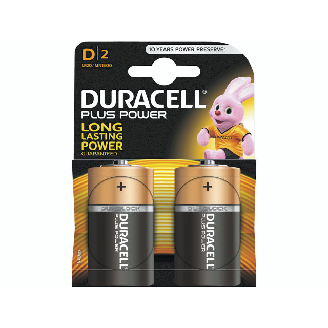 2 Stk Batteri Duracell Plus Power D 2stk/pak LR20 / MN1300