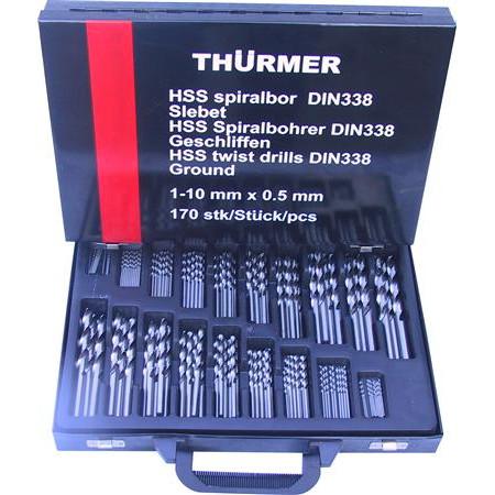 Borsæt metal HSS slebne 1-10 mm 170 stk