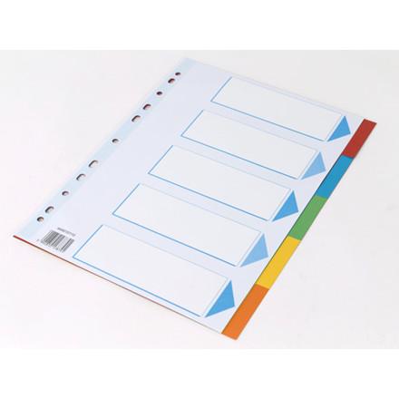 25 sæt Faneblad Q-Line A4 5-delt karton m/kartonforblad