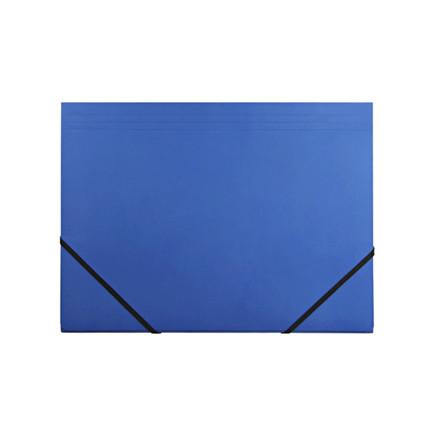 10 stk Kartonmappe Q-Line A4 blå m/3 klapper & elastik blank