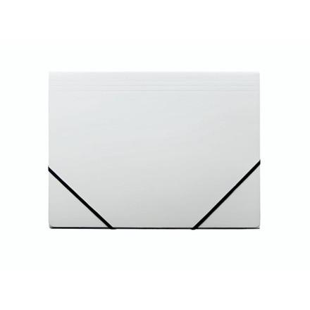 10 stk Kartonmappe Q-Line A4 hvid m/3 klapper & elastik blan