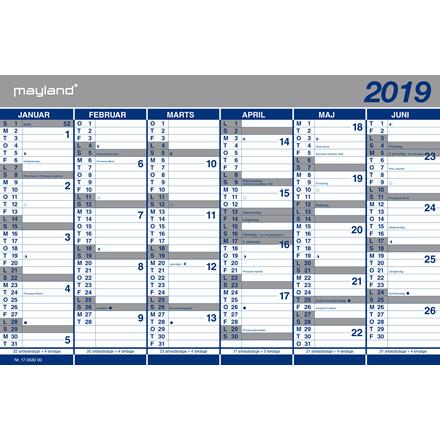 Kartonkalender halvårs 44x29cm 19 0630 00