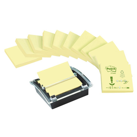 Z-notes Post-it gul recycled 12blk + 1 Millenium dispenser