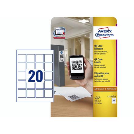 Etiket t/QR-kode Avery kvadrat 45x45mm 400stk/pak L7121-25