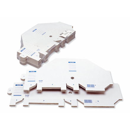 25 stk Tidsskriftskassette Bantex A4 bølgepap hvid ryg:7,5cm
