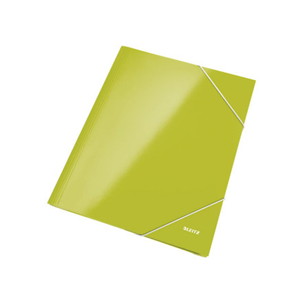 10 stk Mappe pap Leitz WOW A4 grøn m/3 klapper & elastik
