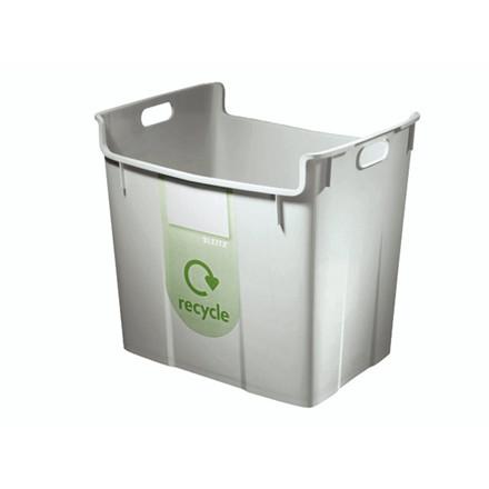 Papirkurv Leitz Basko 40l grå m/recycling-label