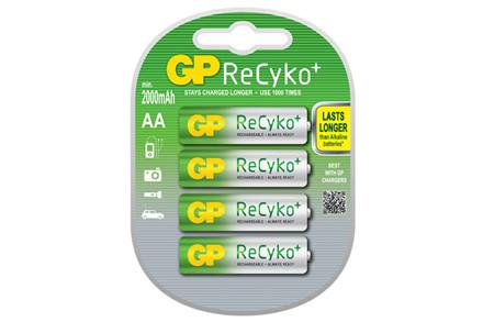Gp Recyko Opladelig Batteri 2000 Aa 4 St