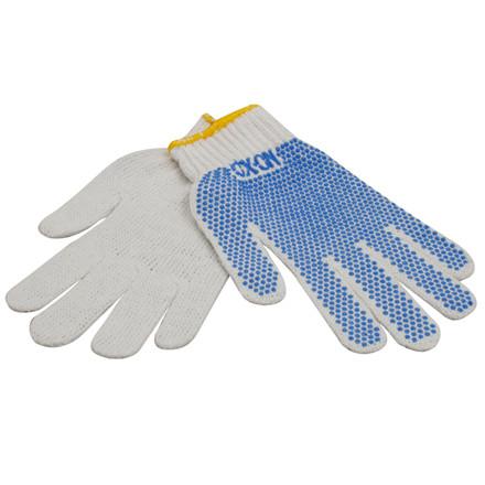 Handske strikket str 10 m/blå dotter
