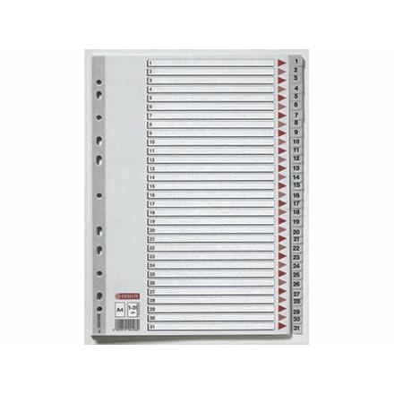 10 sæt Plastregister Esselte A4 1-31 grå m/kartonforblad 100