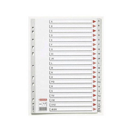 10 sæt Plastregister Esselte A4 A-Å grå m/kartonforblad 1001
