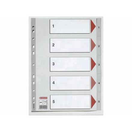 20 sæt Plastregister Esselte A4 1-5 grå m/kartonforblad