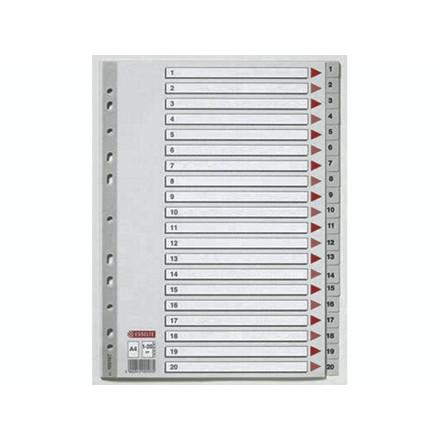 10 sæt Plastregister Esselte A4 1-20 grå m/kartonforblad
