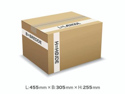 25 stk Bølgepapkasse 455x305x255mm 133 (A3) - 35L - 3mm