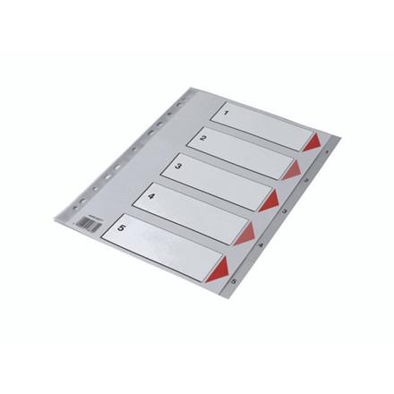 25 sæt Plastregister Q-Line A4 1-5 grå m/kartonforblad