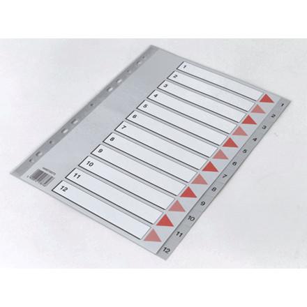 15 sæt Plastregister Q-Line A4 1-12 grå m/kartonforblad