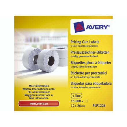 Prisetiketter Avery 1 linje hvid 26x12mm perm.klæb 10x1500st