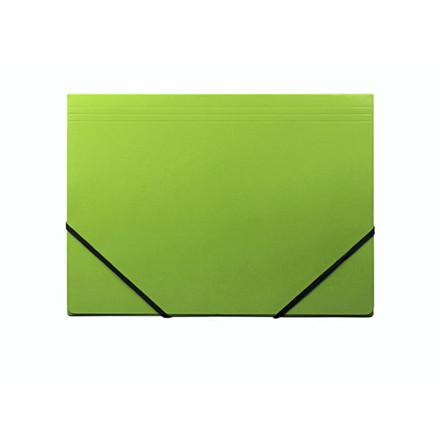 10 stk Kartonmappe Q-Line A4 grøn m/3 klapper & elastik blan