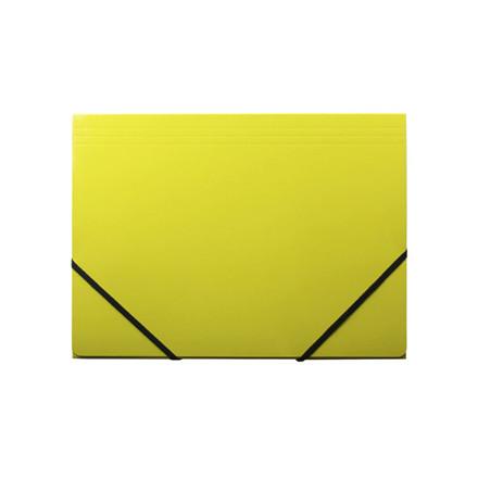 10 stk Kartonmappe Q-Line A4 gul m/3 klapper & elastik blank