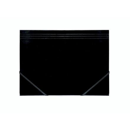 10 stk Kartonmappe Q-Line A4 sort m/3 klapper & elastik blan