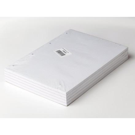 5 stk Standardblok 4 huller kvadr. toplimet 60g hvid A4 100b