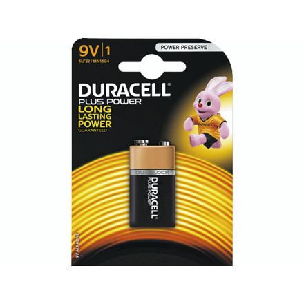 Batteri Duracell Plus Power 9V 1stk/pak 6LR22 / MN1604