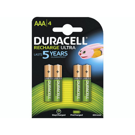 Batteri Duracell genopladelig AAA 850mAh 4stk/pak