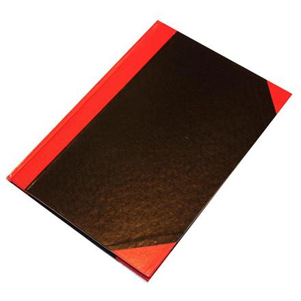 6 stk Kinabog linjeret A5 Q-Line sort/rød 80 blade 70g FSC