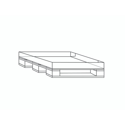 20 stk Engangspalle 1200x800x15mm m/påhæftet bølgepap bund 1