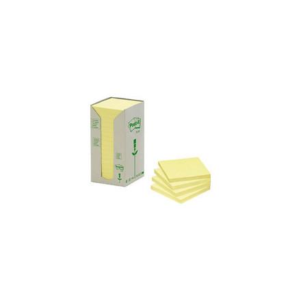 16 Blokke Post-it notes gul 76x76mm genbrug 16blk/pak