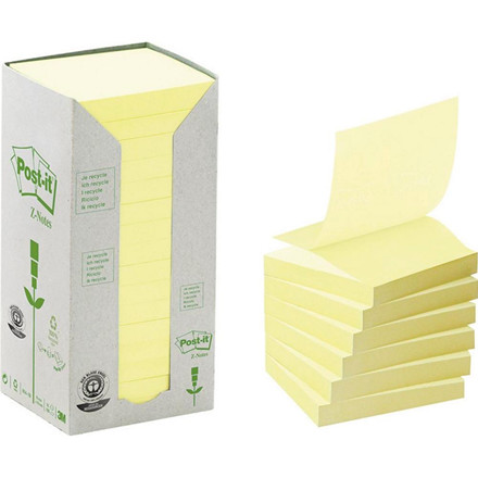 Post-it z-notes gul 76x76mm genbrug 16blk/pak